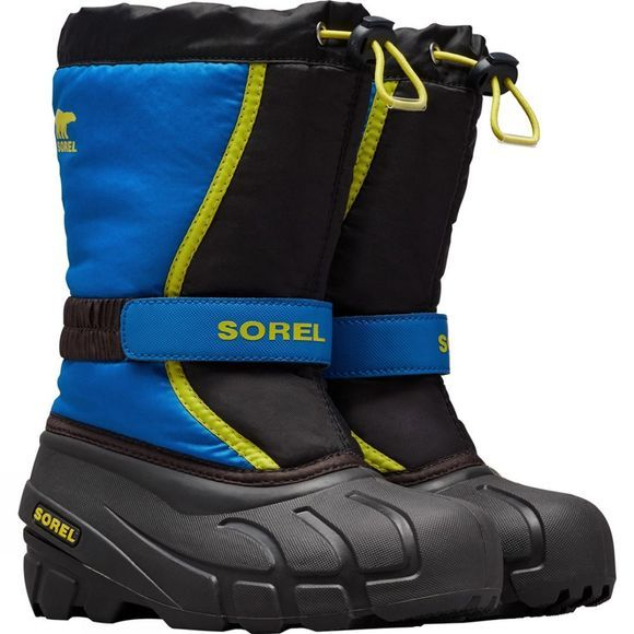 Sorel Youth Flurry Boot Black, Super Blue