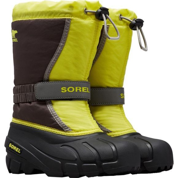 Sorel Youth Flurry Boot Dark Grey, Warning Yellow