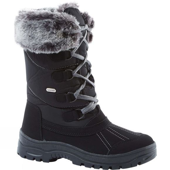Calzat Girls Fur Trim Traction Boot Black