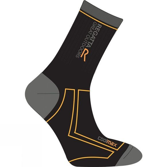 Regatta Mens Two Season Trek and Trail Sock Black / Gold Heat