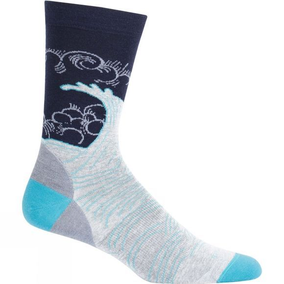 Mens LifeStyle Fine Gauge Ultra Light Crew Turbulent Tide Sock