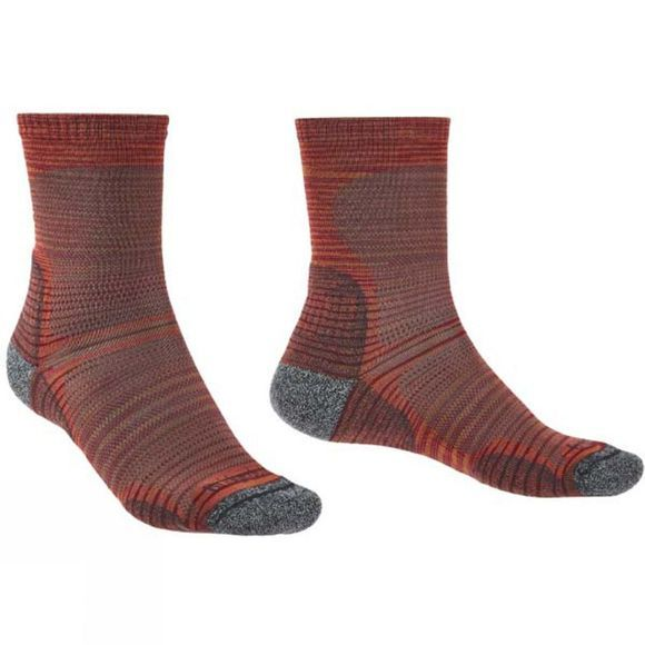 Bridgedale Mens Hike Ultra Light Merino Endurance Pattern Socks Multi Orange