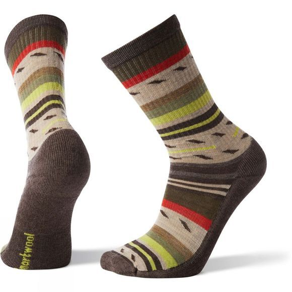 SmartWool Mens Hike Light Margarita Crew Socks Chestnut