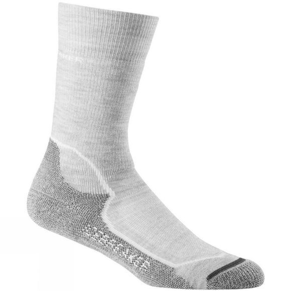 Icebreaker Womens Hike+ Mid Crew Sock Blizzard Heather/White
