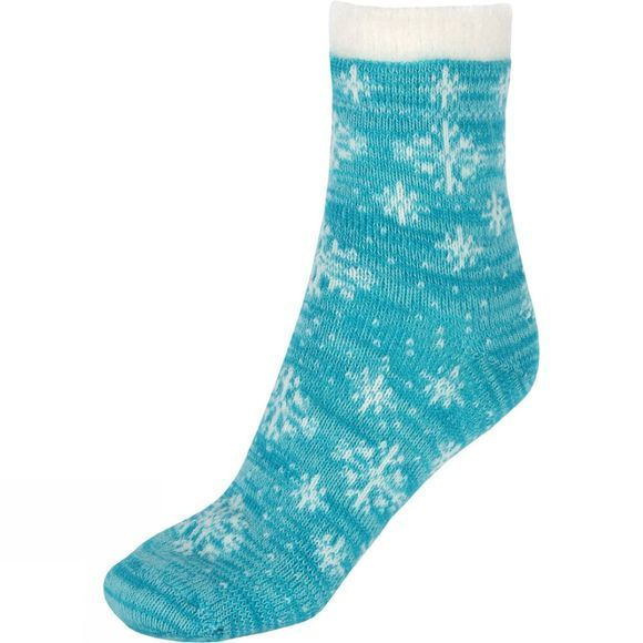 Yaktrax Womens Snowflake Cabin Socks Tile Blue