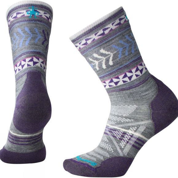 SmartWool Womens PhD Outdoor Light Pattern Crew Socks Medium Grey
