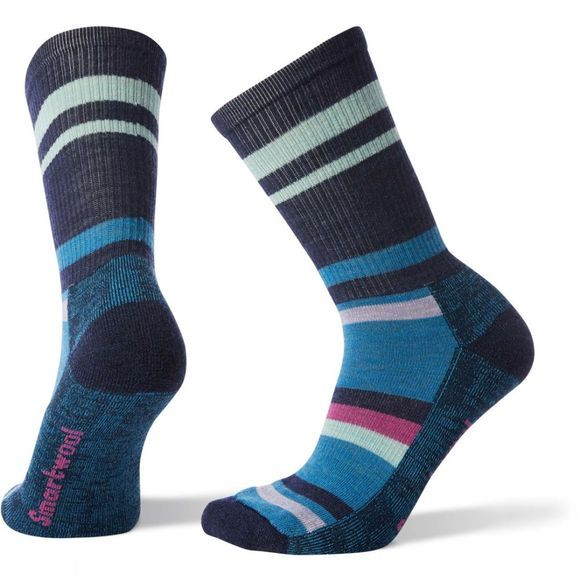 SmartWool Womens Hike Striped Light Crew Socks Deep Navy