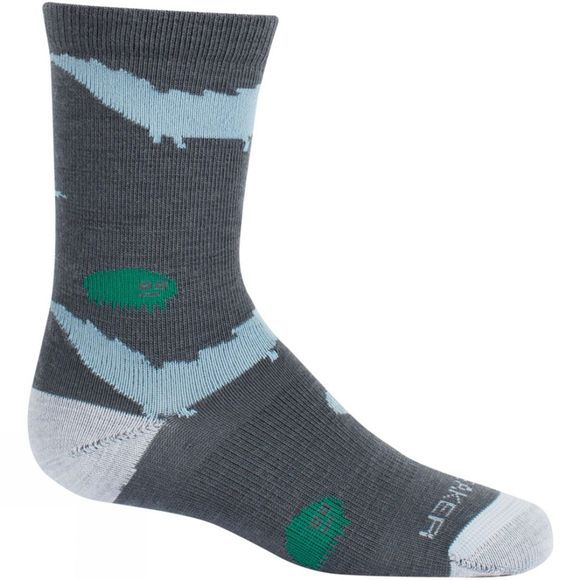 Icebreaker Boys Lifestyle Ultra Light Crew Sock Monsoon/Blizzard Hthr/Stormy Skies