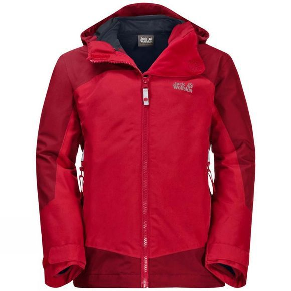 Jack Wolfskin Boys Akka 3in1 Jacket Ruby Red