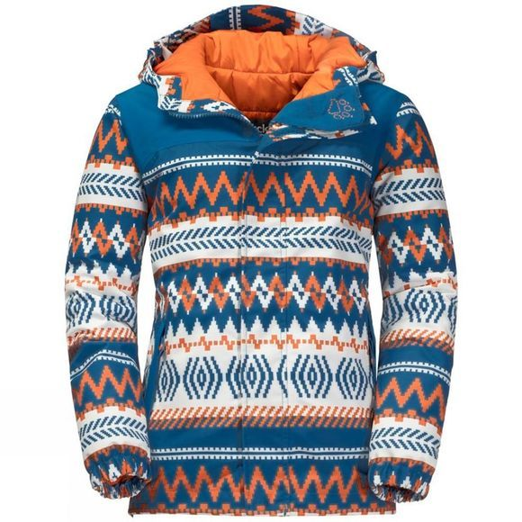 Jack Wolfskin Boys Kajak Falls Printed Jacket Glacier Blue All Over