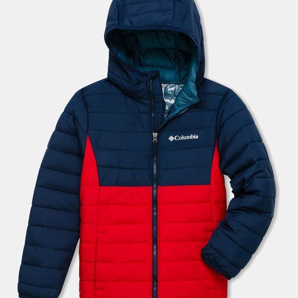 Columbia Boys Powder Lite Boys Hooded Jacket Mountain Red/ Collegiate Navy