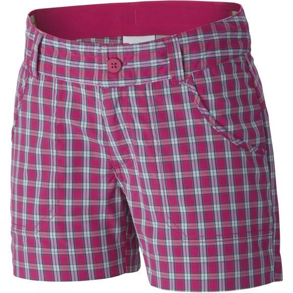 Columbia Girls Silver Ridge Plaid Shorts Age 14+ Haute Pink Plaid