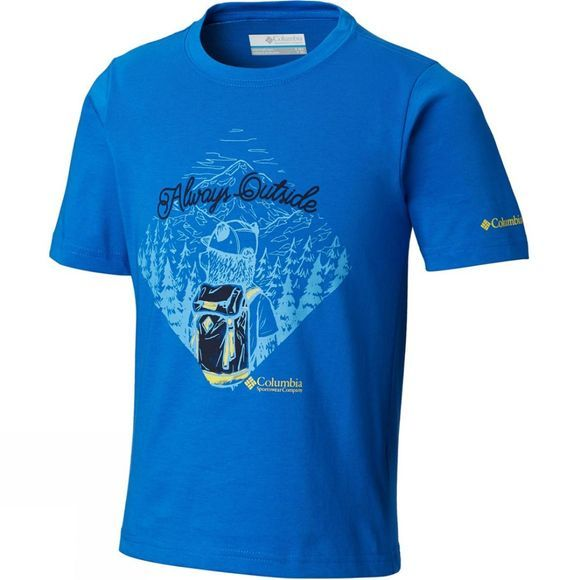 Columbia Boys Camp Champs Short Sleeve T-Shirt 14+ Super Blue Bear Graphic