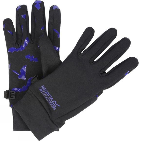 Regatta Kids Grippy Gloves Black/Surfspray (Bats)