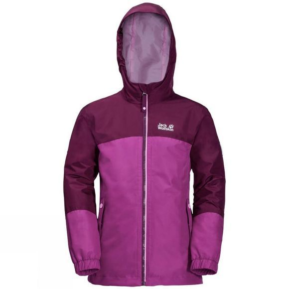 Jack Wolfskin Girls Iceland 3in1 Jacket Dark Peony