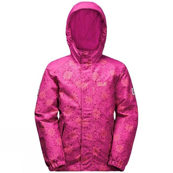 Jack Wolfskin Girls Kajak Falls Printed Jacket 14+ Fuchsia Allover