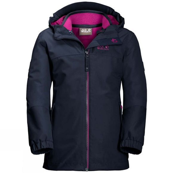Jack Wolfskin Kids Iceland 3in1 Jacket Midnight Blue/Fuchsia