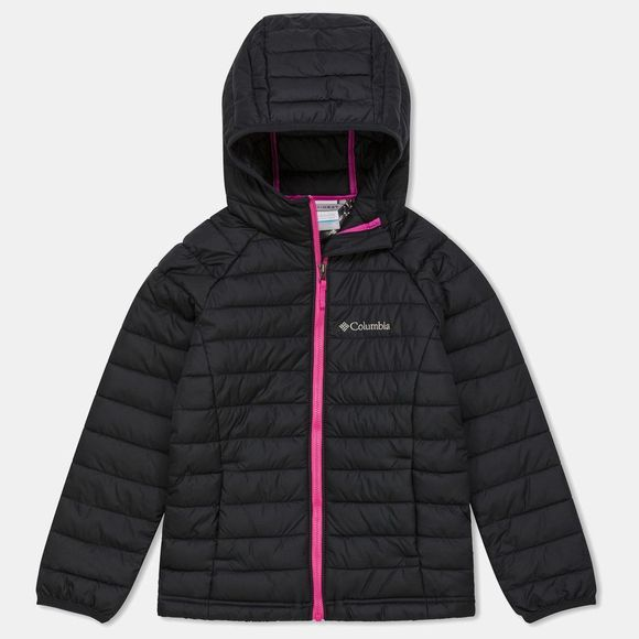 Columbia Childrens Powder Lite Hooded Jacket Black/Pink Ice Pops