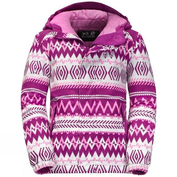 Jack Wolfskin Girls Kajak Falls Printed Jacket 14+Y Dark Peony All Over