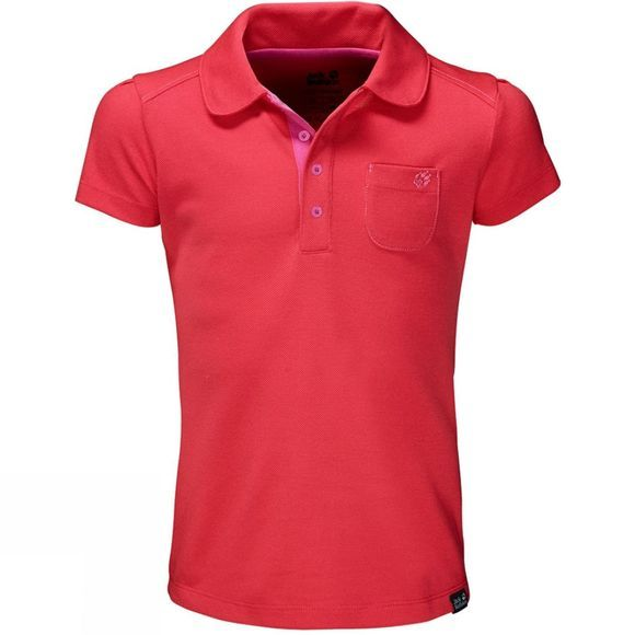 Jack Wolfskin Girls Pique Polo Hibiscus Red