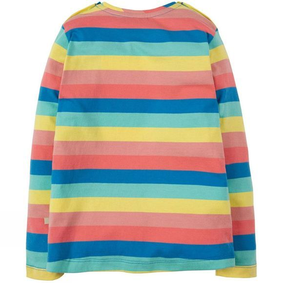 Frugi Childrens Louise Stripe Top Bright Rainbow Stripe/Cloud SS19