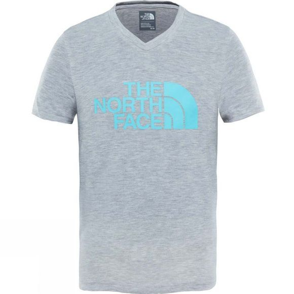 The North Face Girls Reaxion T-Shirt Ages 14+ TNF Light Grey Heather/Blue Curacao