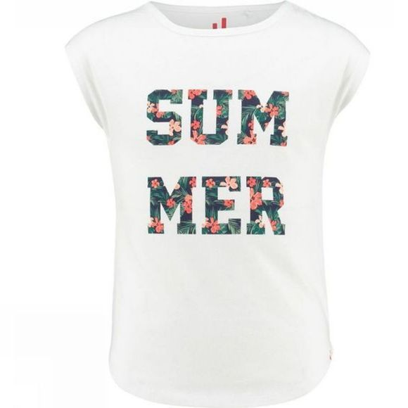 Ayacucho Girls Azure Summer T-Shirt White/Hibiscus
