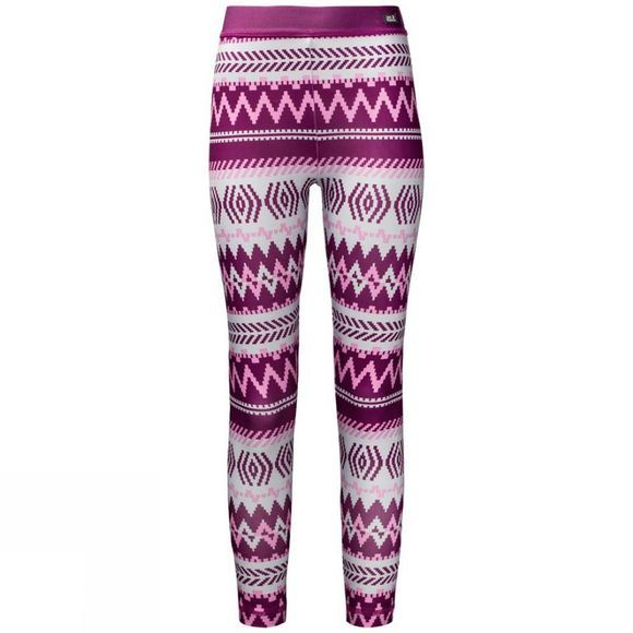 Jack Wolfskin Girls Inuit Tights 14+Y Dark Peony All Over