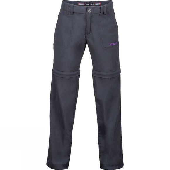 Marmot Girls Lobo's Convertible Pants Age 14+ Dark Steel