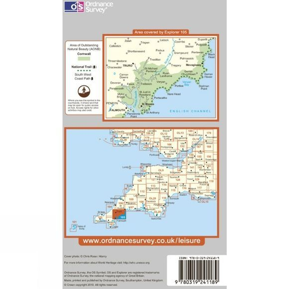Ordnance Survey Explorer Map 105 Falmouth and Mevagissey .