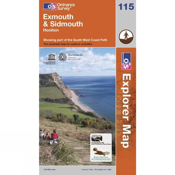 Ordnance Survey Explorer Map 115 Exmouth and Sidmouth .