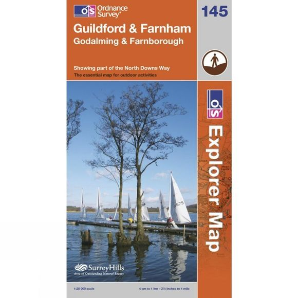 Ordnance Survey Explorer Map 145 Guildford and Farnham .
