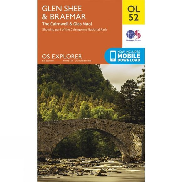 Ordnance Survey Explorer Map OL52 Glen Shee and Braemar V15