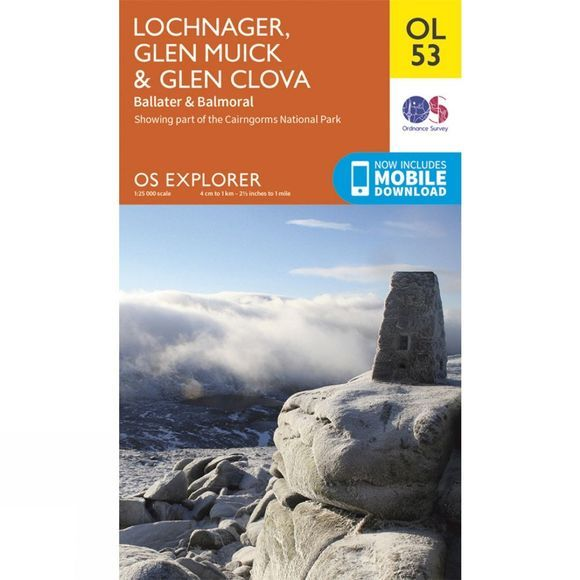 Ordnance Survey Explorer Map OL53 Lochnagar, Glen Muick and Glen Clova V15
