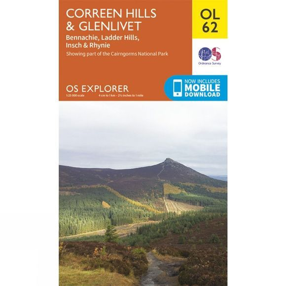 Explorer Map OL62 Coreen Hills and Glenlivet