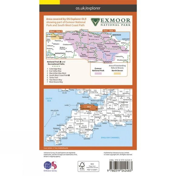 Ordnance Survey Explorer Map OL9 Exmoor V15