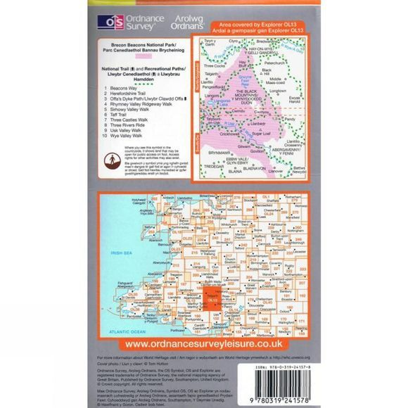 Ordnance Survey Explorer Map OL13 Brecon Beacons National Park - Eastern Area .