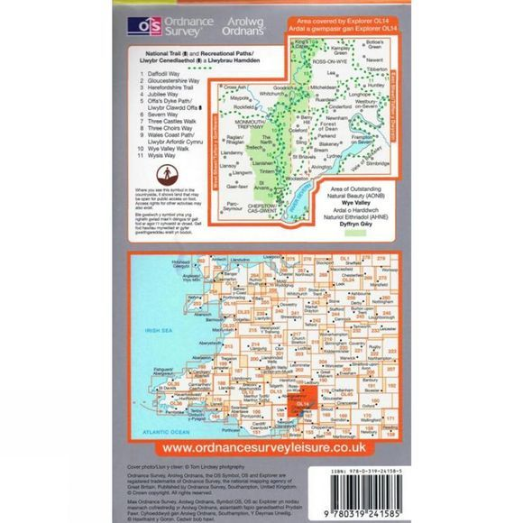 Ordnance Survey Explorer Map OL14 Wye Valley and Forest of Dean .