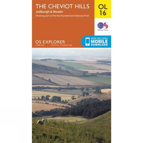 Ordnance Survey Explorer Map OL16 The Cheviot Hills V15