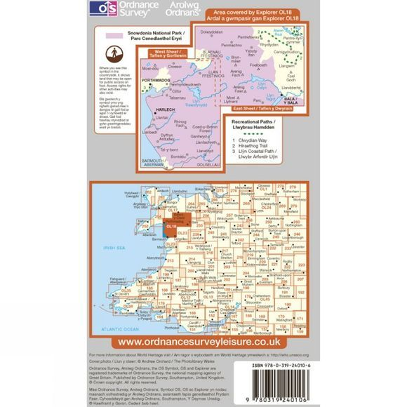 Ordnance Survey Explorer Map OL18 Harlech, Porthmadog and Bala .