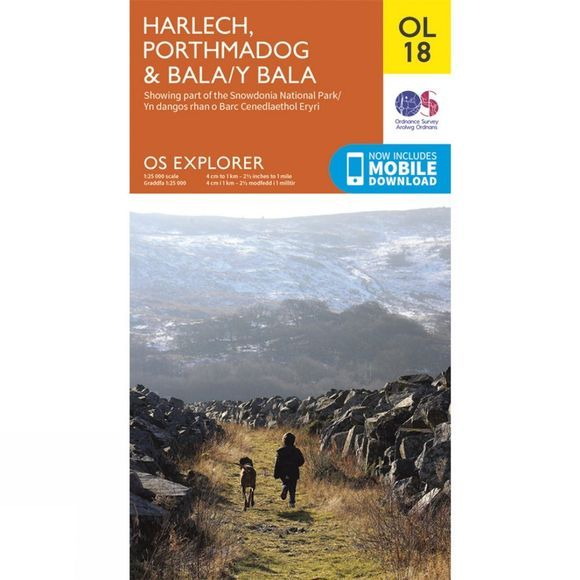 Ordnance Survey Explorer Map OL18 Harlech, Porthmadog and Bala V15