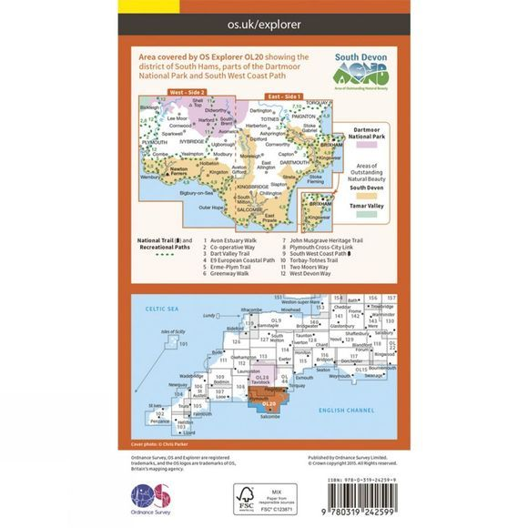 Ordnance Survey Explorer Map OL20 South Devon V15