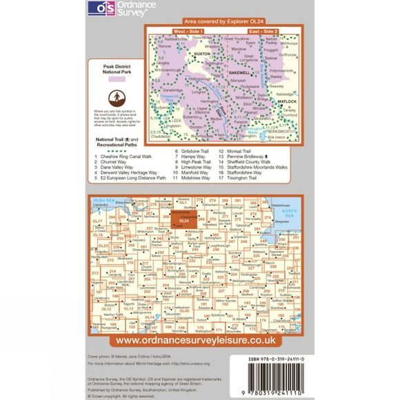 Ordnance Survey Explorer Map OL24 The Peak District - White Peak Area .