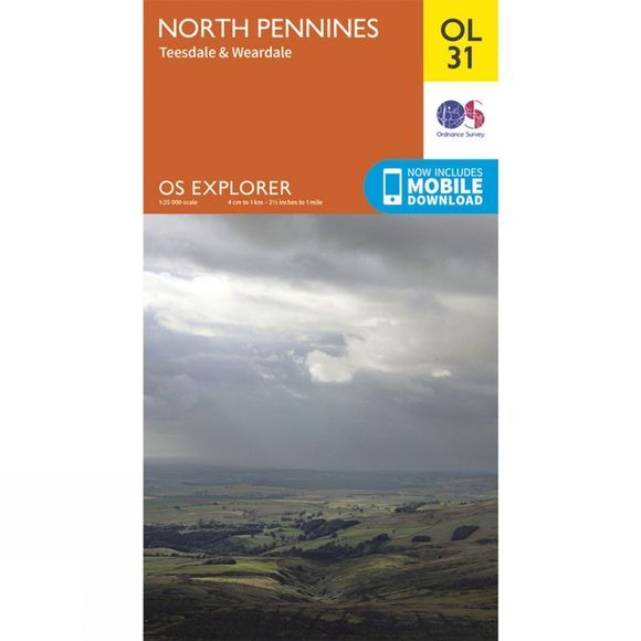 Ordnance Survey Explorer Map OL31 North Pennines - Teesdale and Weardale V15