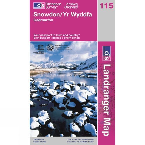 Ordnance Survey Landranger Map 115 Snowdon .