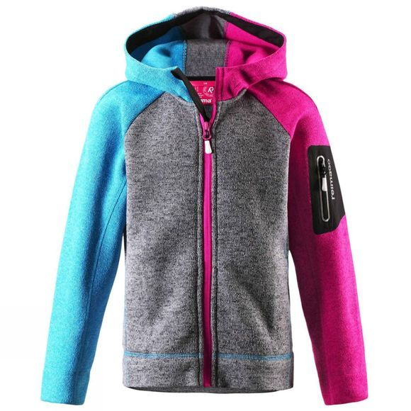 Reima Girls Lively Fleece Zip Hoodie 14 years + Heather Grey/PInk/Blue