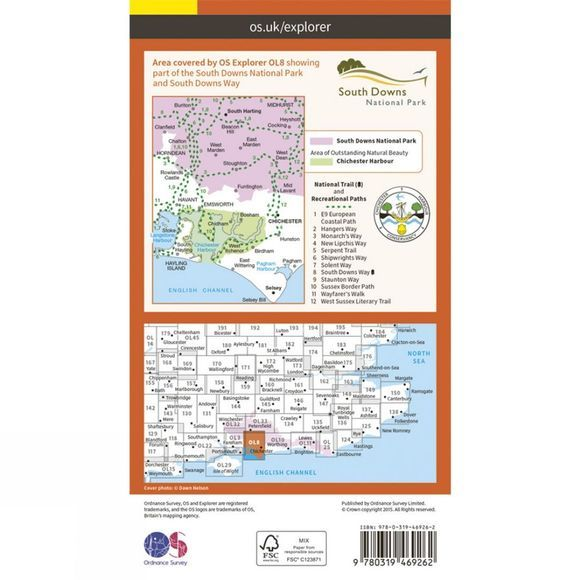 Ordnance Survey Active Explorer Map OL8 Chichester V15