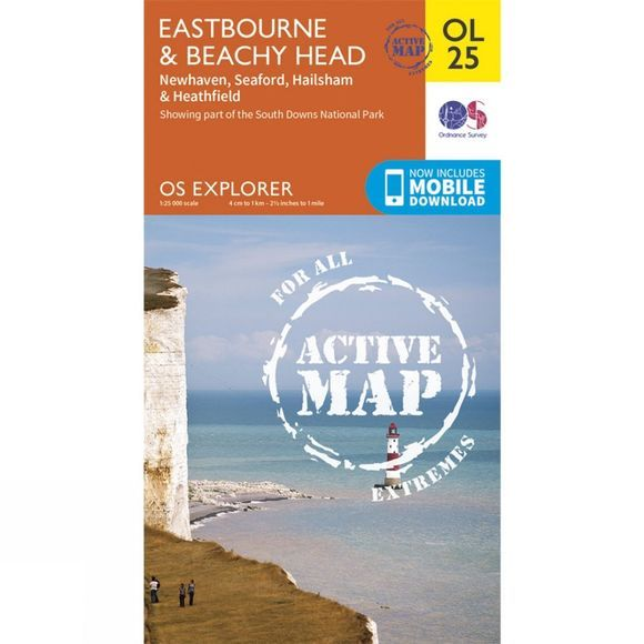 Ordnance Survey Active Explorer Map OL25 Eastbourne and Beachy Head V15