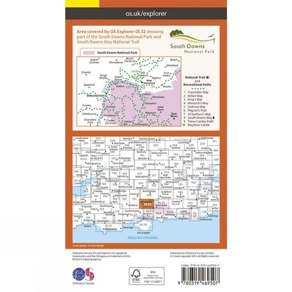 Ordnance Survey Active Explorer Map OL32 Winchester V15