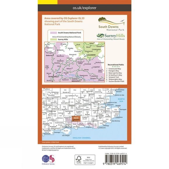 Ordnance Survey Active Explorer Map OL33 Haslemere and Petersfield V15